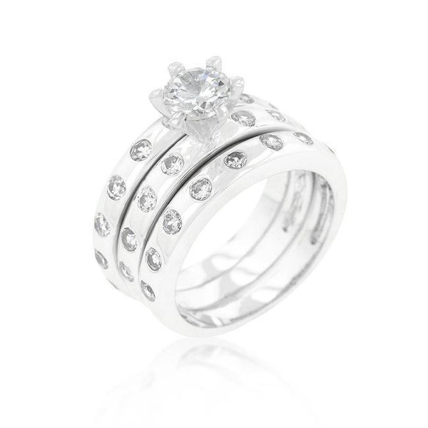Bezel Set Stackable Modern Ring Set-Rings-Here Comes The Bling™