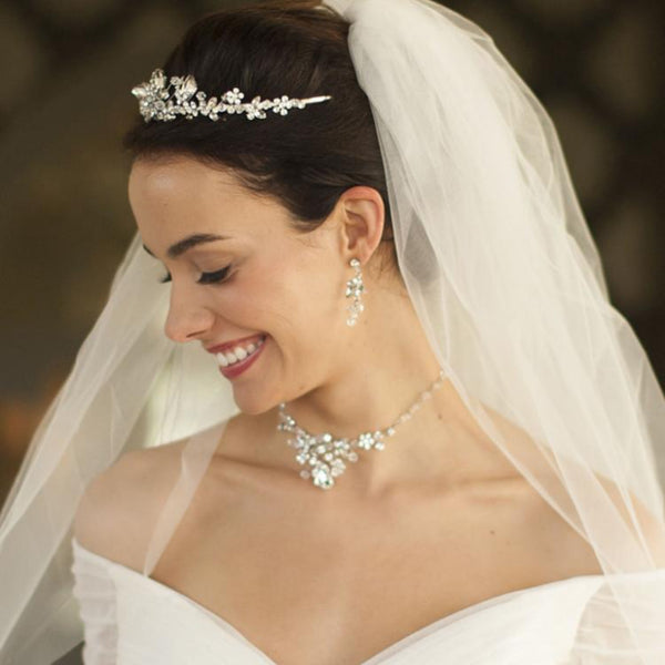 BIGGEST SALE!!! Top-Selling Handmade Tiara, Necklace & Earrings Set with Genuine  Crystals