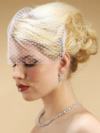 Birdcage Visor Veil with Side Combs-Birdcage-Here Comes The Bling™