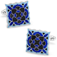 Black and Blue Deco Bloom Cufflinks-Cufflinks-Here Comes The Bling™