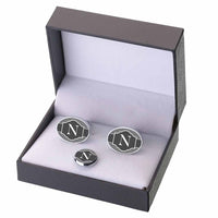 Black Band Initial Monogramed Cufflinks/Tie Tack-Cufflinks-Here Comes The Bling™