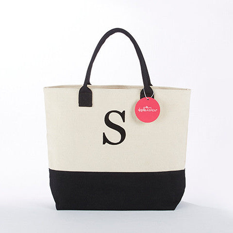 Black Canvas Monogrammed Tote-Tote Bags-Here Comes The Bling™