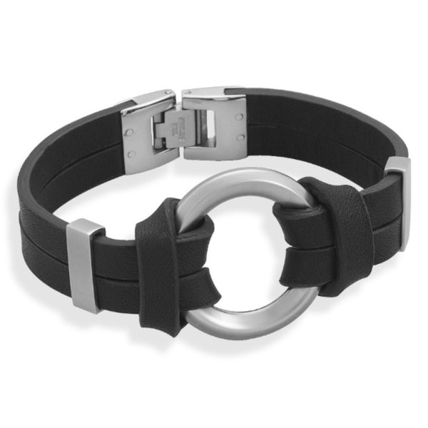 Black Leather Bracelet with Center Circle Design-Mens-Bracelets-Here Comes The Bling™