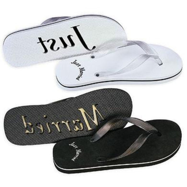 a7d24b11c Black or White Just Married Sandals For Him-Flip Flops-Here Comes The Bling  ...
