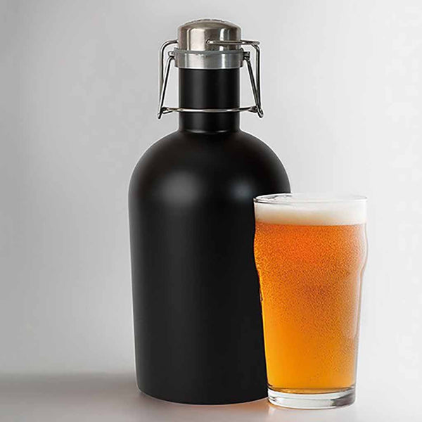 "Black Stainless Steel ""Hoptimistic"" Personalized Beer Growler-Growler-Here Comes The Bling™"