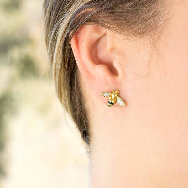 """Bling Bee"" Gold and CZ Honey Bee Earrings-Earrings-Here Comes The Bling™"