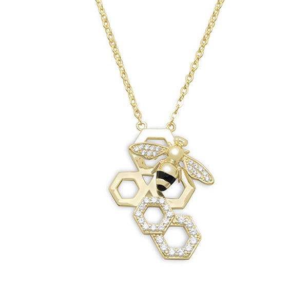 """Bling Bee"" Honeycomb Bee Hive Gold Necklace-Necklaces-Here Comes The Bling™"