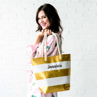 Bliss Striped Tote in Gold-Tote Bags-Here Comes The Bling™