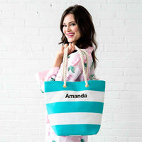 Bliss Striped Tote in Malibu-Tote Bags-Here Comes The Bling™