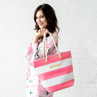 Bliss Striped Tote in Watermelon-Tote Bags-Here Comes The Bling™