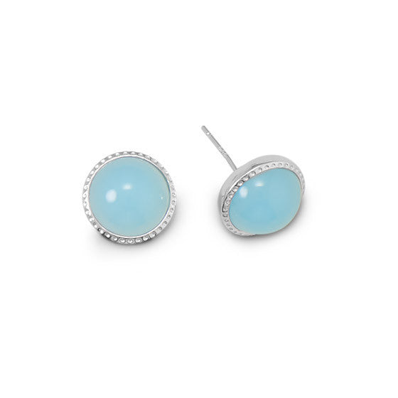 Blue Glass Button Earrings-Earrings-Here Comes The Bling™