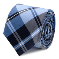 Blue Plaid Silk Cotton Tie-Tie-Here Comes The Bling™