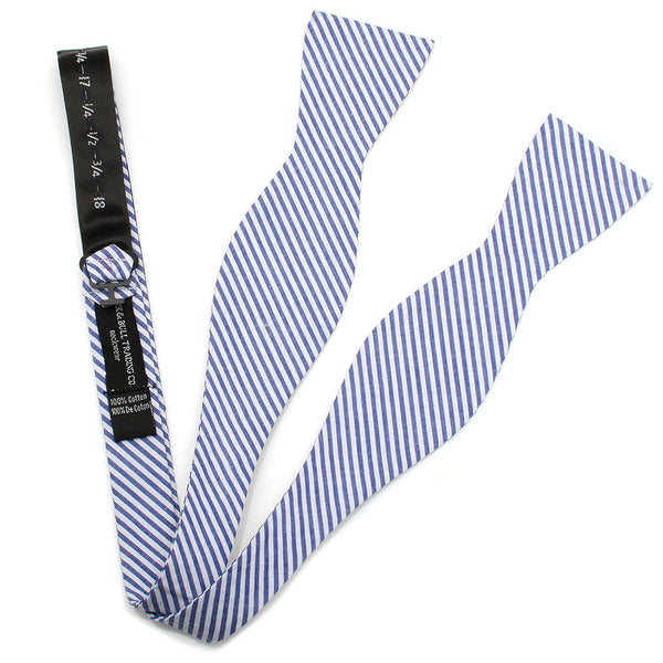 Blue Striped Cotton Bow Tie-Bow Tie-Here Comes The Bling™