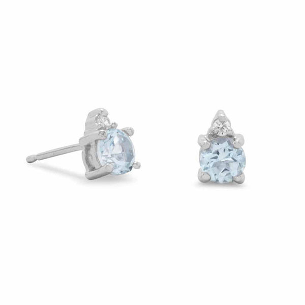Blue Topaz and Clear CZ Rhodium Plated Earrings-Earrings-Here Comes The Bling™