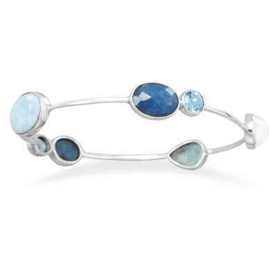 Blue Topaz and Moonstone Stackable Bangle-Bracelets-Here Comes The Bling™