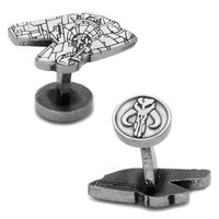 Boba Fett Slave I Silver Etched Cufflinks-Cufflinks-Here Comes The Bling™