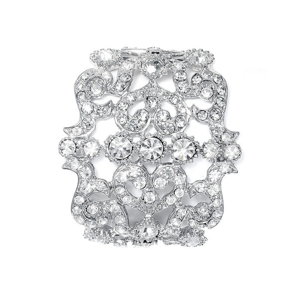 Bold Austrian Crystal Cuff Bridal Bracelet-Bracelets-Here Comes The Bling™
