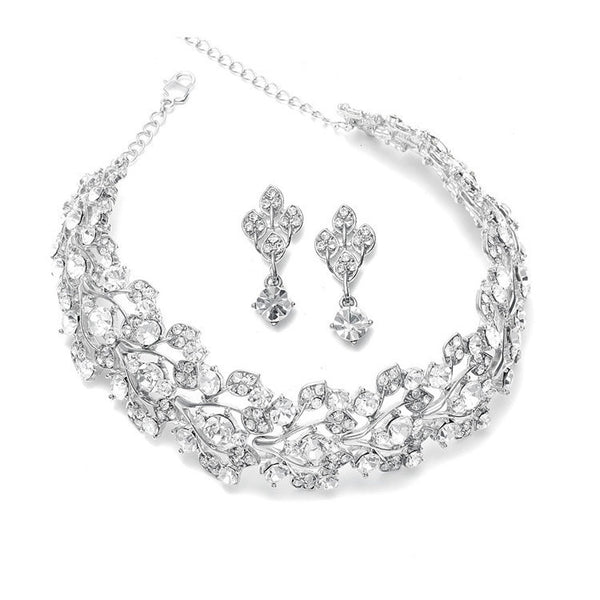 Bold Crystal Vine Wedding Choker Necklace Set-Sets-Here Comes The Bling™