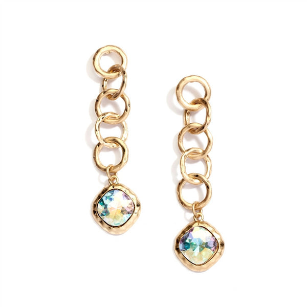Bold Matte Gold Links Crystal Drop Earrings-Earrings-Here Comes The Bling™