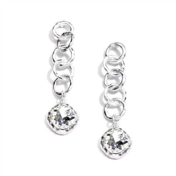 Bold Matte Silver Links Crystal Drop Earrings-Earrings-Here Comes The Bling™