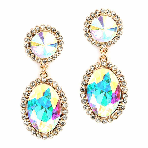 Bold Oval Drop Earrings with AB Crystals-Earrings-Here Comes The Bling™