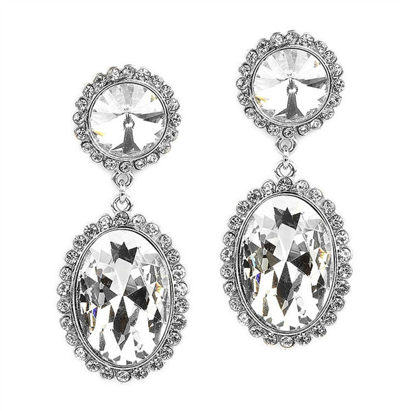 Bold Oval Drop Earrings with Rivoli Studs-Earrings-Here Comes The Bling™