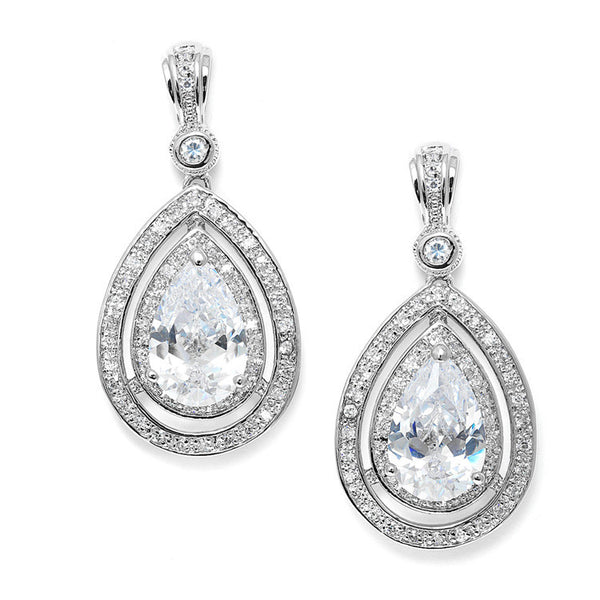 Bold Vintage Cubic Zirconia Wedding Earrings-Earrings-Here Comes The Bling™