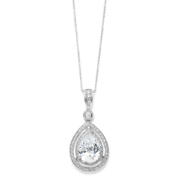 Bold Vintage Cubic Zirconia Wedding Pendant-Necklaces-Here Comes The Bling™
