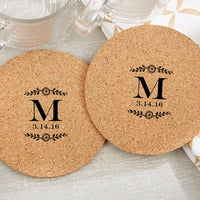 """Botanical"" Personalized Cork Coasters (Set of 36)-Favors-Coasters-Here Comes The Bling™"
