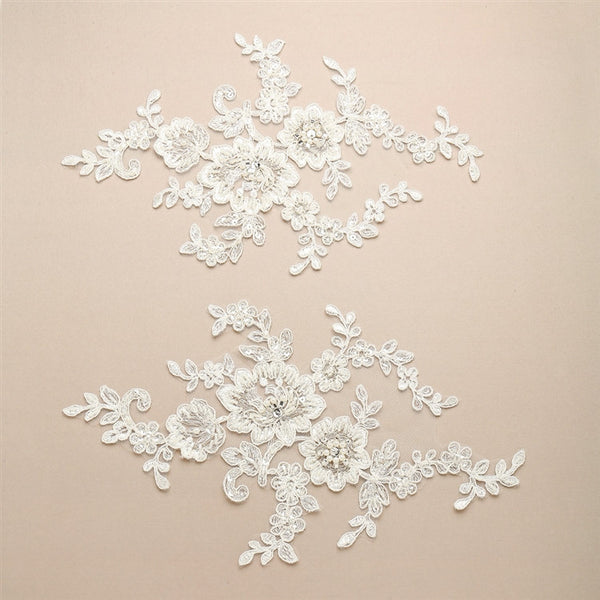 Bountiful Floral Lace Appliques with Embroidery, Pearls and Mixed Beads-Applique-Here Comes The Bling™