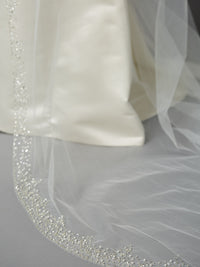 Breathtaking Single Layer Cathedral Wedding Veil with Dramatic Crystal, Pearl and Beaded Edging-Veils-Here Comes The Bling™