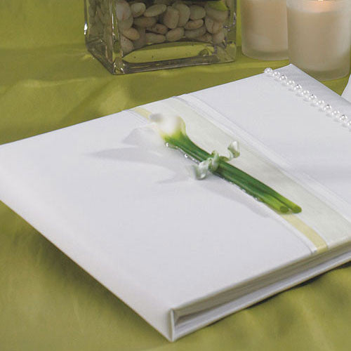 Bridal Beauty Calla Lily Traditional Guest Book-Guest Books-Here Comes The Bling™
