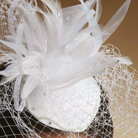 Bridal Cocktail Hat with Feathers & Birdcage Veil-Fascinators-Here Comes The Bling™