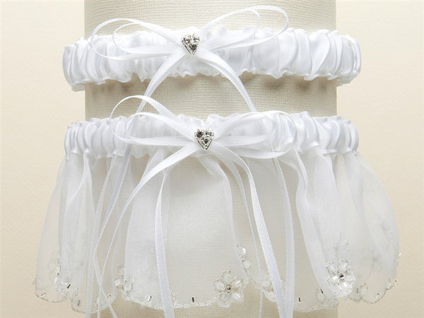 Bridal Garter Set with Inlaid Crystal Hearts - White-Garters-Here Comes The Bling™
