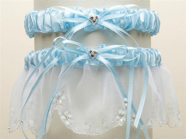 Bridal Garter Set with Inlaid Crystal Hearts - White with Blue-Garters-Here Comes The Bling™