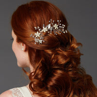 Bridal Hair Comb with Hand Painted Leaves, Freshwater Pearls and Crystals-Combs-Here Comes The Bling™