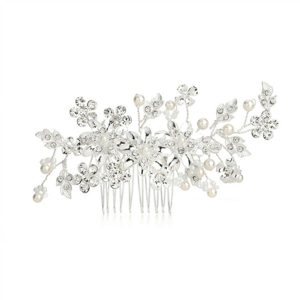 Bridal Hair Comb with Ivory Pearls & Crystal Floral Sprays-Combs-Here Comes The Bling™