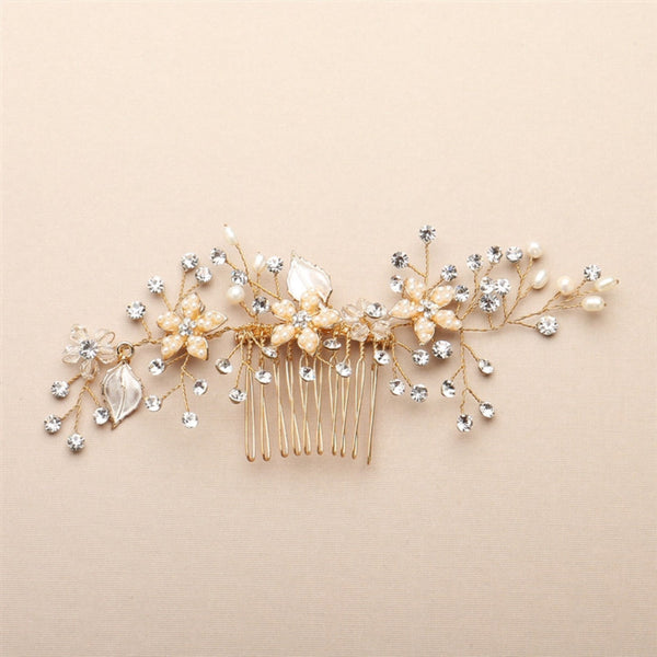Bridal Hair Comb with Silvery Gold Leaves, Freshwater Pearl and Crystal Sprays-Combs-Here Comes The Bling™