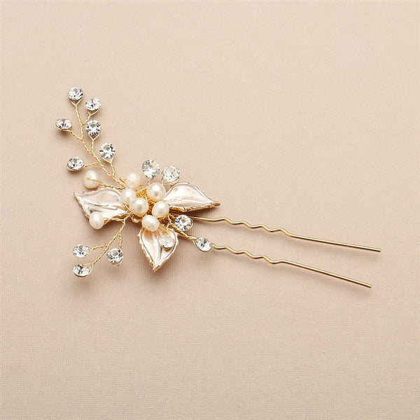 Bridal Hair Pin with Golden Silver Leaves, Freshwater Pearl and Crystal Sprays-Hair Pins-Here Comes The Bling™
