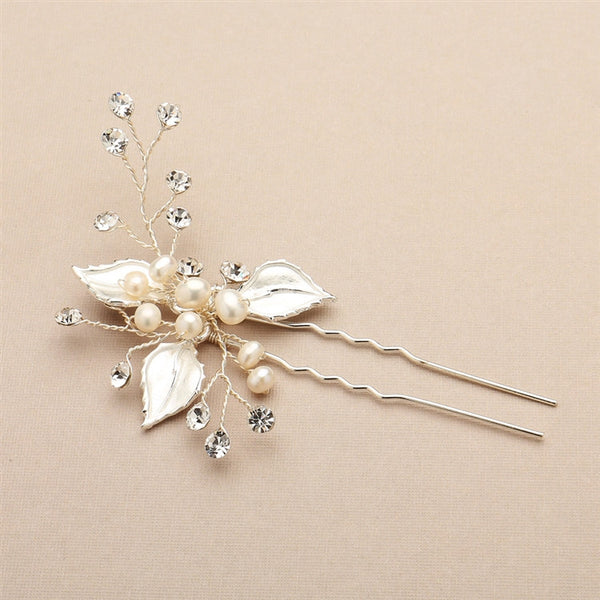 Bridal Hair Pin with Silvery Leaves, Freshwater Pearl and Crystal Sprays-Hair Pins-Here Comes The Bling™