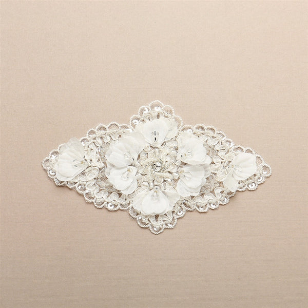 Bridal Lace Applique Embellsihment with Delicate Crepe petals and Crystals-Applique-Here Comes The Bling™