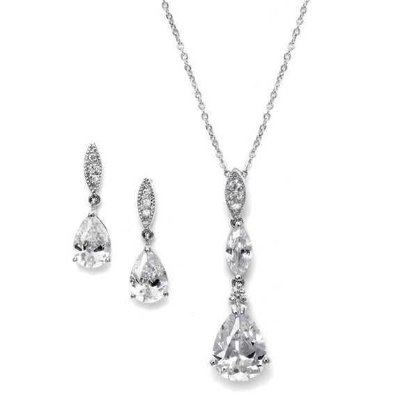 Bridal Necklace Set with Pave Top & Cubic Zirconia Pears in Gold-Sets-Here Comes The Bling™