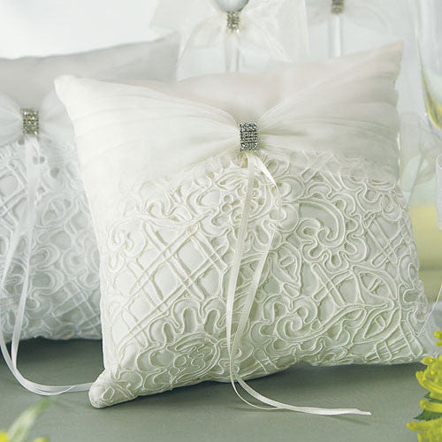Bridal Tapestry Square Ring Pillow Ivory-Ring Pillow-Here Comes The Bling™