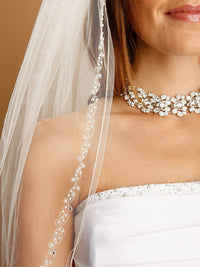 Bridal Veil with Pearls, Swarovski Crystals, Seeds & Threaded Chain-Veils-Here Comes The Bling™