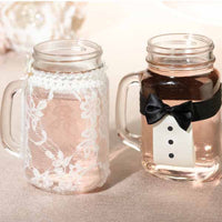 Bride and Groom Drink Glass Covers-Decor-Table-Here Comes The Bling™