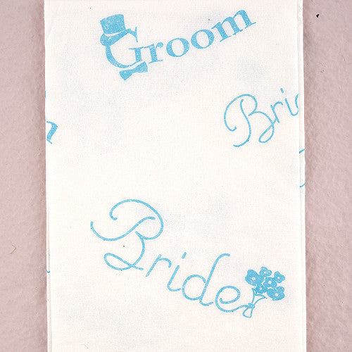 "Bride and Groom Wedding Tissues in traditional ""Something Blue"" Print-Favors-Disposable-Here Comes The Bling™"
