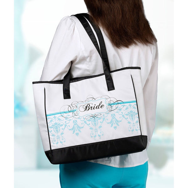 """Bride"" Aqua Damask Tote Bag-Tote Bags-Here Comes The Bling™"