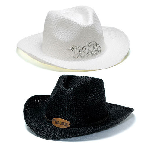 "Bride & Groom Cowboy Hats White ""Bride"" Cowboy Hat-Hats-Here Comes The Bling™"