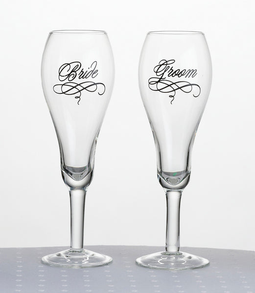 Bride & Groom Glasses-Toasting Flutes-Here Comes The Bling™