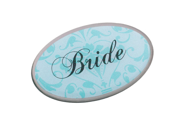 Bride Pin - Oval Aqua-Pin-Here Comes The Bling™
